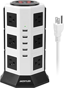 Surge Protector Power Strip Tower JACKYLED 12 AC Outlets 3000W 15A and 5 USB 8A Desktop Smart Charging Station Multiple Protection Heavy Duty 6.5ft 14 AWG Extension Cord White and Black
