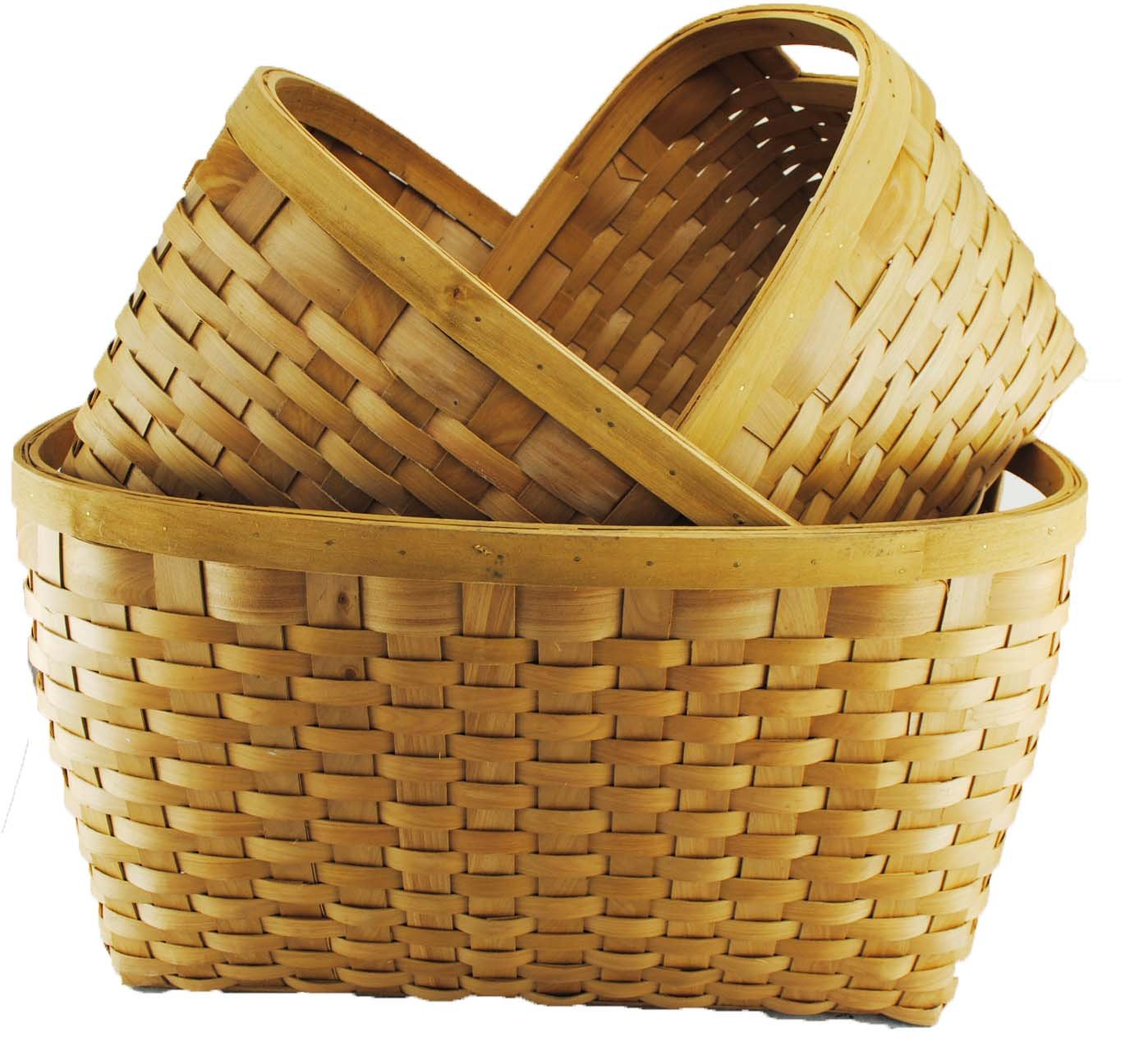 TOPOT Jambo Set of 3 Wood chip Laundry Storage Baskets in Honey Brown Color by TopherTrading (Image #1)