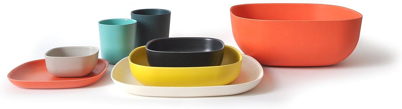 FSC-zertifiziert EKOBO Gusto Pastateller naturwei/ß auch f/ür Salate BPA-frei 21 x 21 cm aus Bambus // Melamin sp/ülmaschinengeeignet