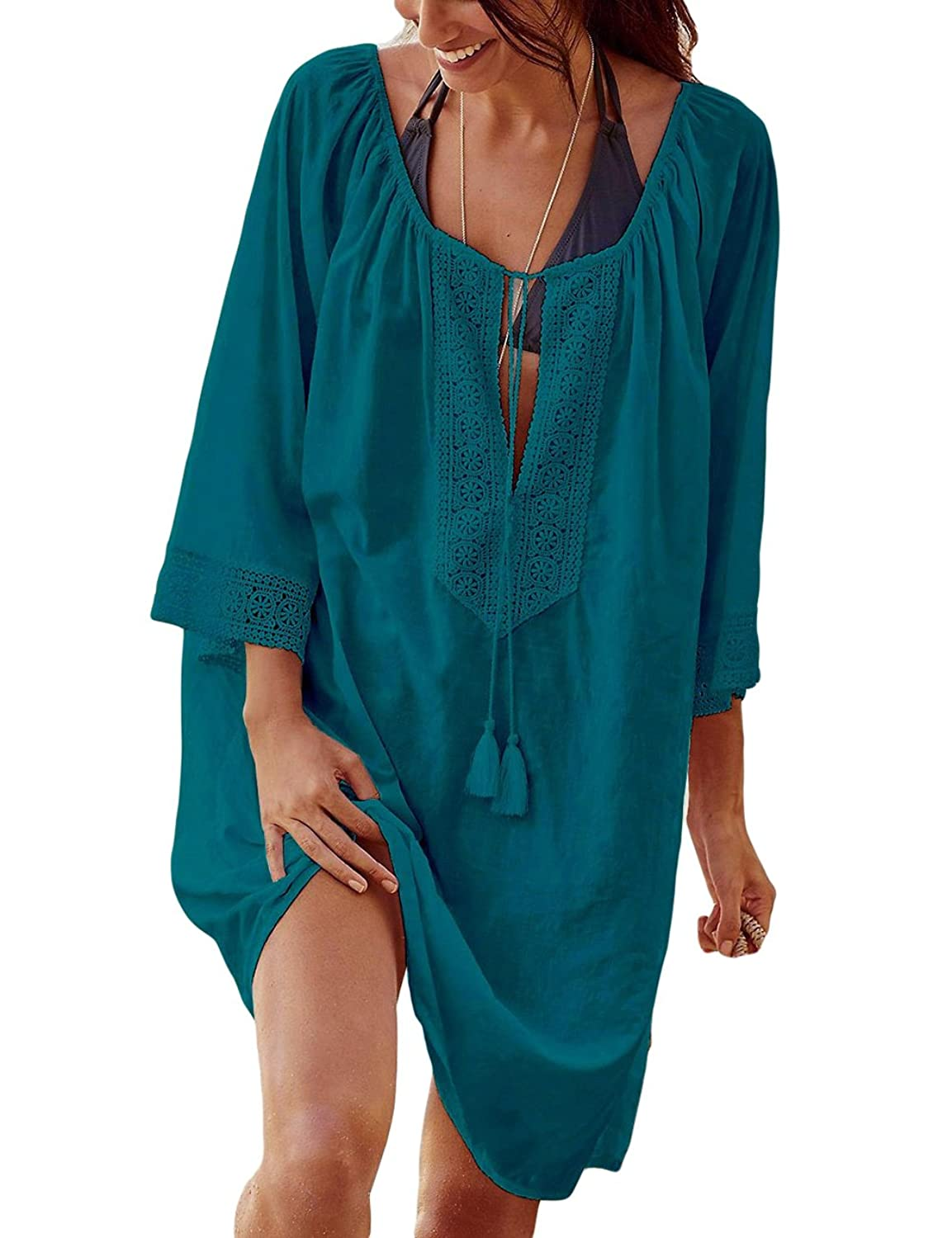 471c0d1eee Sexy 3/4 sleeve beach cover up with string. Made of soft lightsome fabric,  comfortable to wear in hot days. Can be served as a summer top, ...