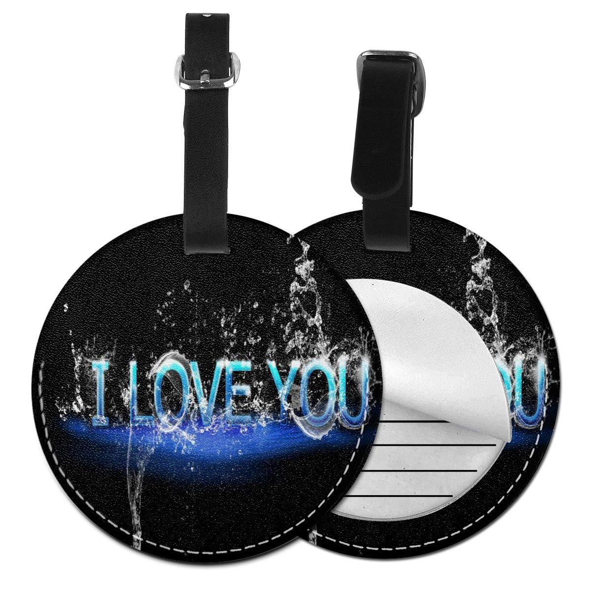 Featured Valentine's Day Background Round Luggage Tags Suitcase Labels Bag Travel Accessories Tough 4 Pack by Rachel Dora