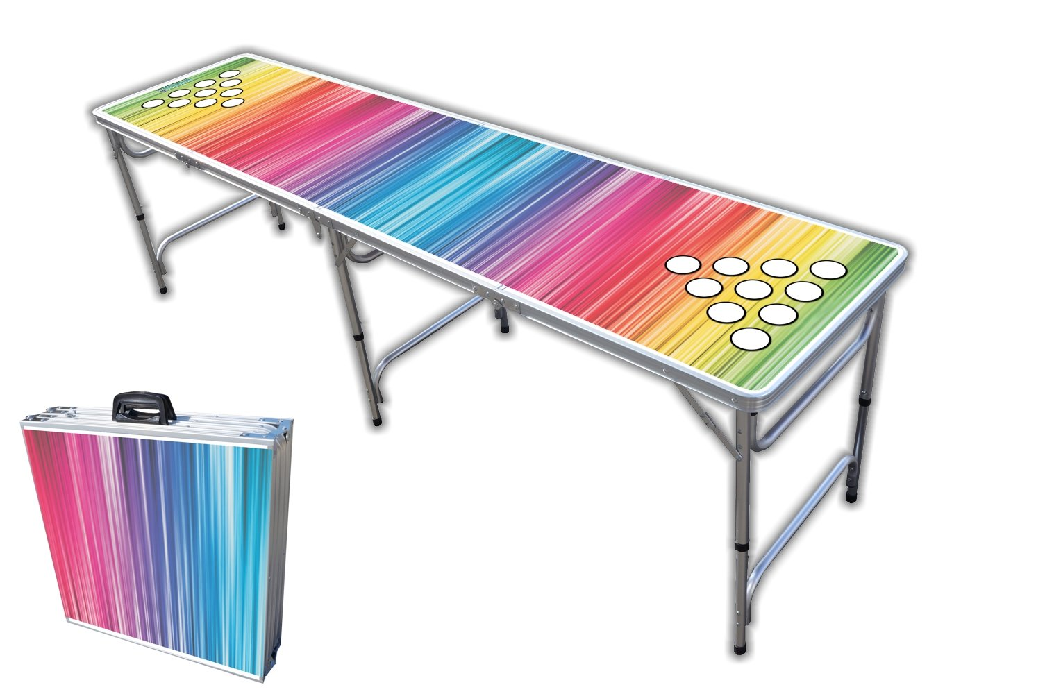 8-Foot Professional Beer Pong Table w/Holes - Color Spectrum Graphic