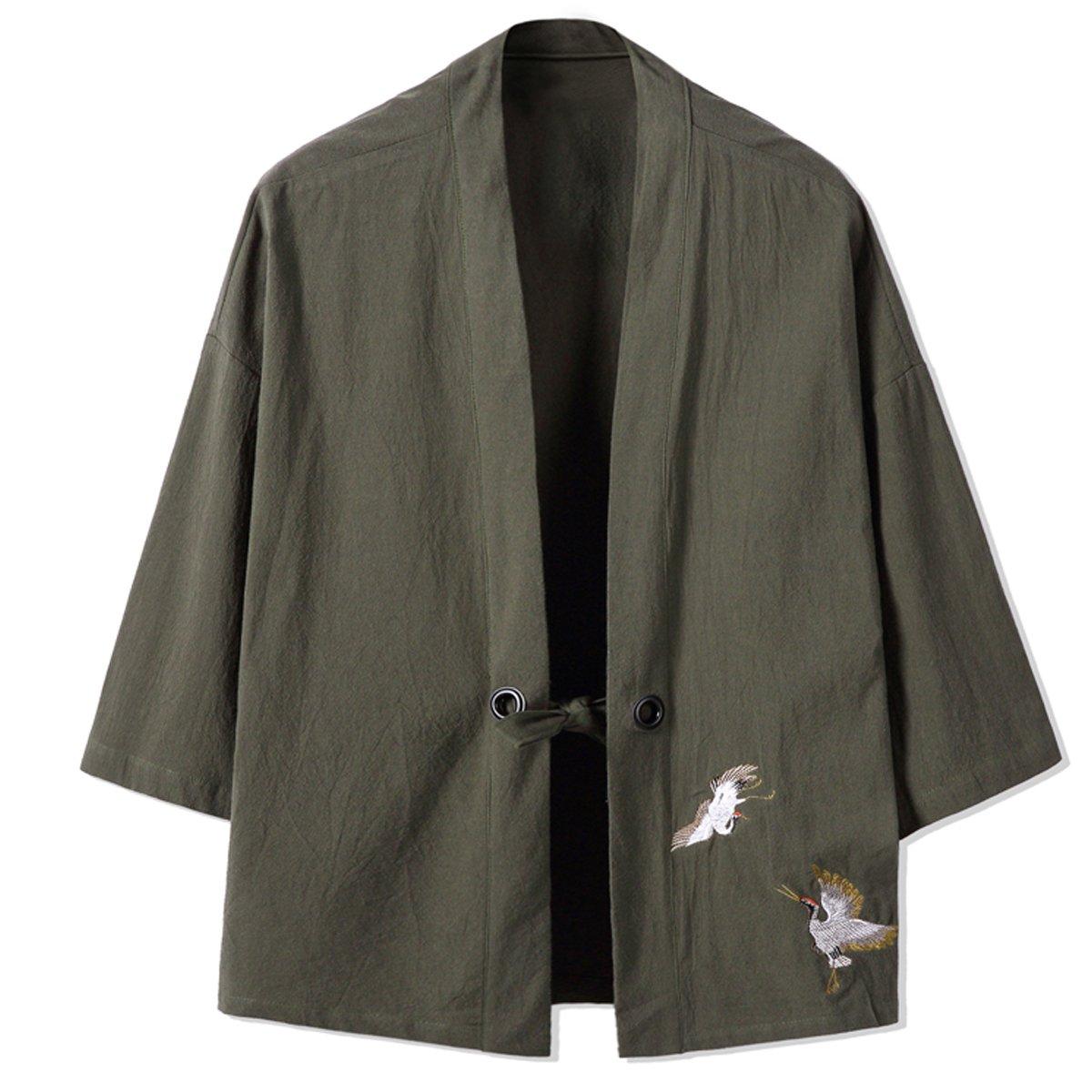 Mirecoo Fashion Mens Cotton Linen Blends Vintage Cloak Open Front Short Coat One Button Jacket