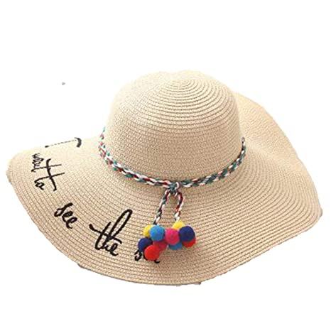 Collocation-Online Spring Summer Beach hat Parent-Child Straw hat Holiday  Hanging Ball Embroidery ed1b1b4f4f8