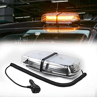 LE-JX Amber Strobe Beacon Roof Top Mini Emergency Light Bar 72 Leds 12-24 Volt with Magnetic Base Surface Mount Warning Caution Strobe Lights for Trucks Cars Vehicles Snow Plow Safety Law Enforcement: Automotive [5Bkhe0912722]