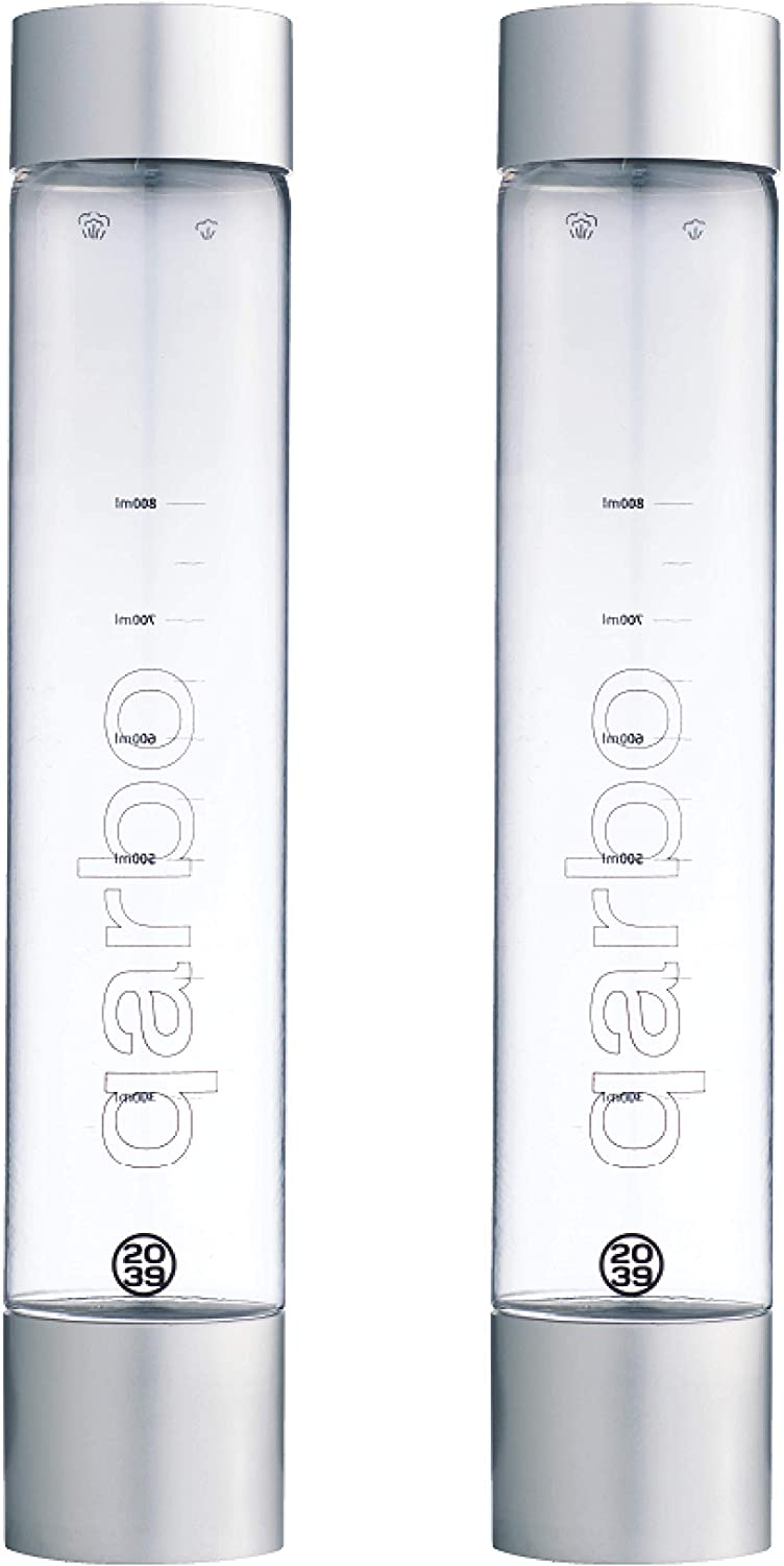 twenty39 1L Water Bottles for qarbo Sparkling Water Maker and Fruit Infuser - Premium Carbonation Machine - Infuses Flavor while Carbonating Beverages Set of 2, (Chrome)