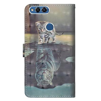 dise/ño de piel Cat or Tiger Funda de piel con tapa para Huawei P Smart//Huawei Enjoy 7S ZCXG