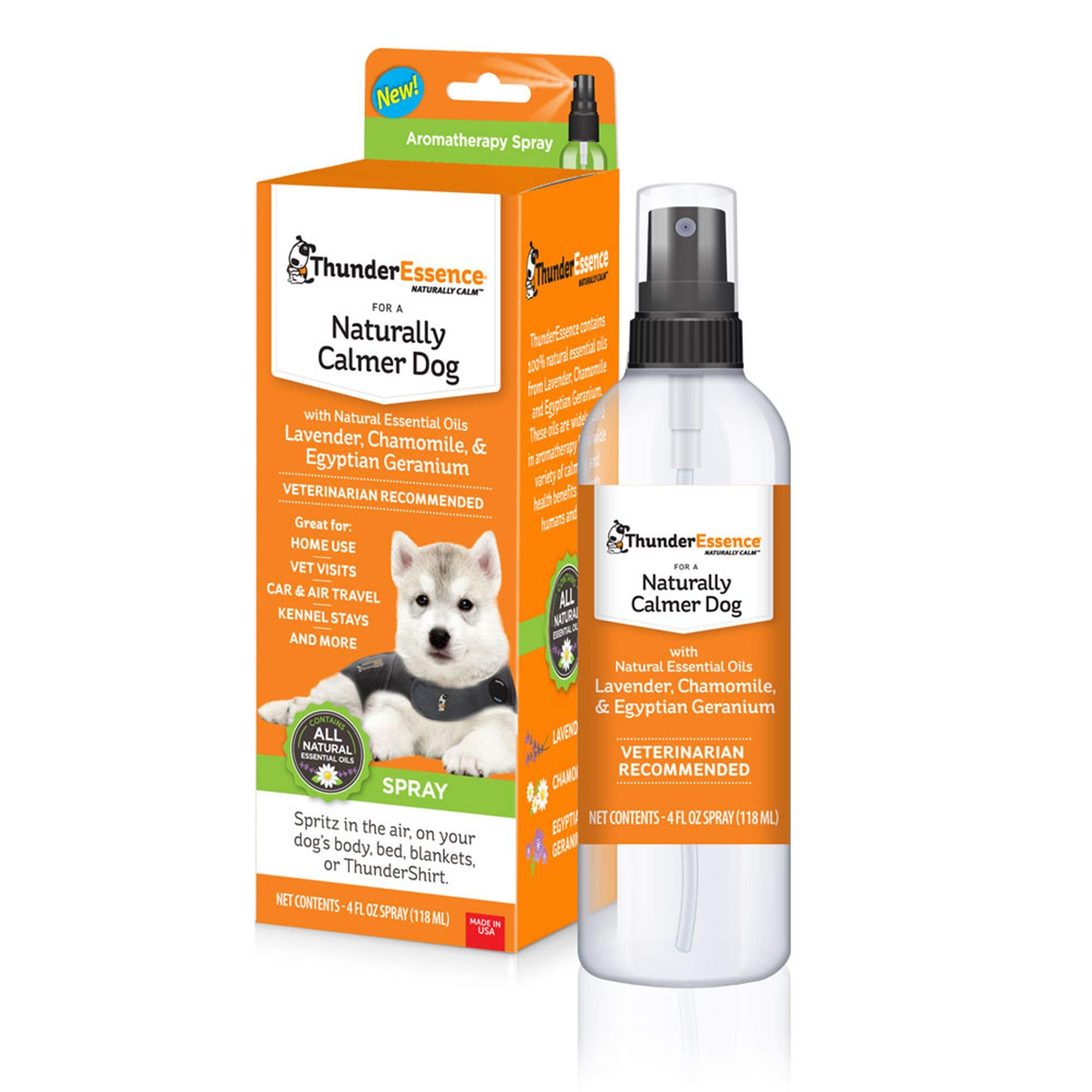ThunderEssence Dog Calming Essential Oils   All-Natural Lavender, Chamomile and Egyptian Geranium   Vet Recommended  4 FL OZ. Spray by ThunderEssence