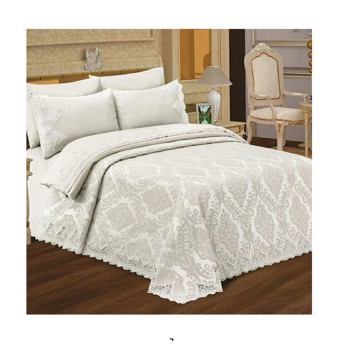 CDM product Pharpar ESINTI 100% Cotton Premium Elegant Bedding Set, 7-Piece Pique Bedspread Coverlet Set and Duvet Cover - Beril small thumbnail image