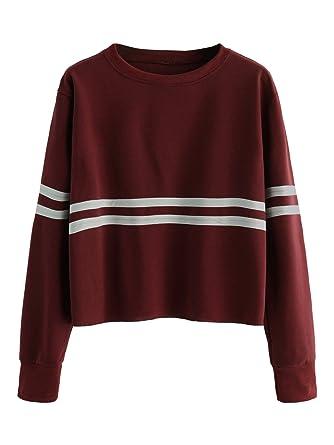 95e5cea872b Romwe Women s Casual Striped Long Sleeve Crop Top Sweatshirt Burgundy S