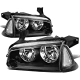 Dodge Charger LX 4pcs Black Housing Clear Lens Headlight+Corner Signal Lamp
