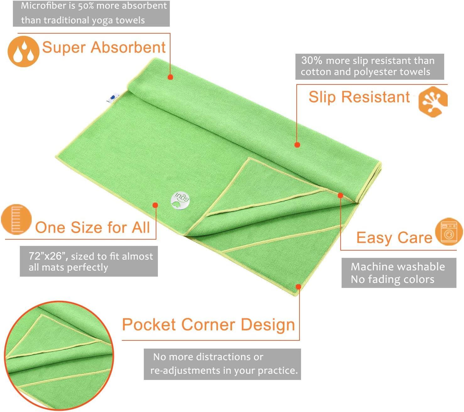 Microfibra 100/% Non Scivolare Tasche ad Angolo Design per prevenire Il raggomitaggio Asciugamano 2 in 1 Set Super Assorbente e Asciugatura Rapida IUGA Asciugamano Yoga Hot Spessore Extra