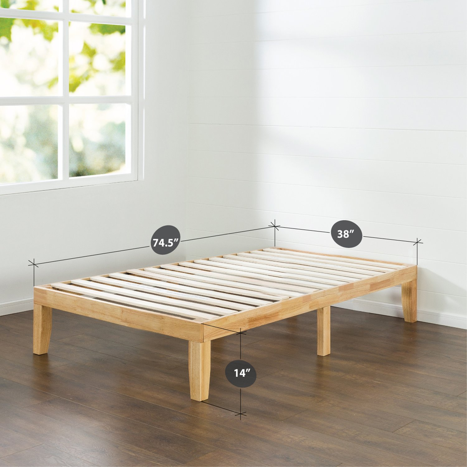 Zinus 14 Inch Wood Platform Bed / No Boxspring Needed / Wood Slat Support / Natural Finish, Twin by Zinus (Image #2)