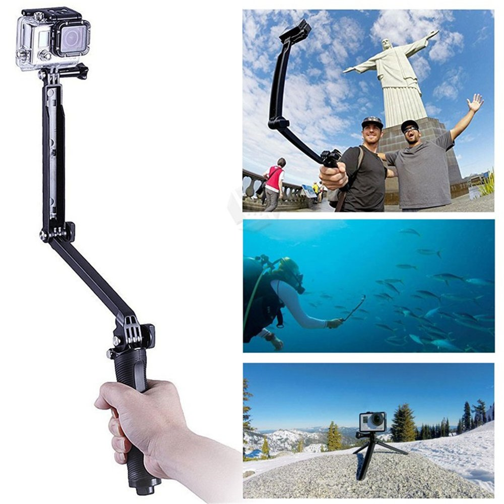 GoPro Waterproof Selfie Stick Tripod, LUOOV 3-in-One Extendable and Foldable Self Portrait Stick, 3 Way Extension Arm for Hero 4 2 3 3+ SJ4000 Sport Camera