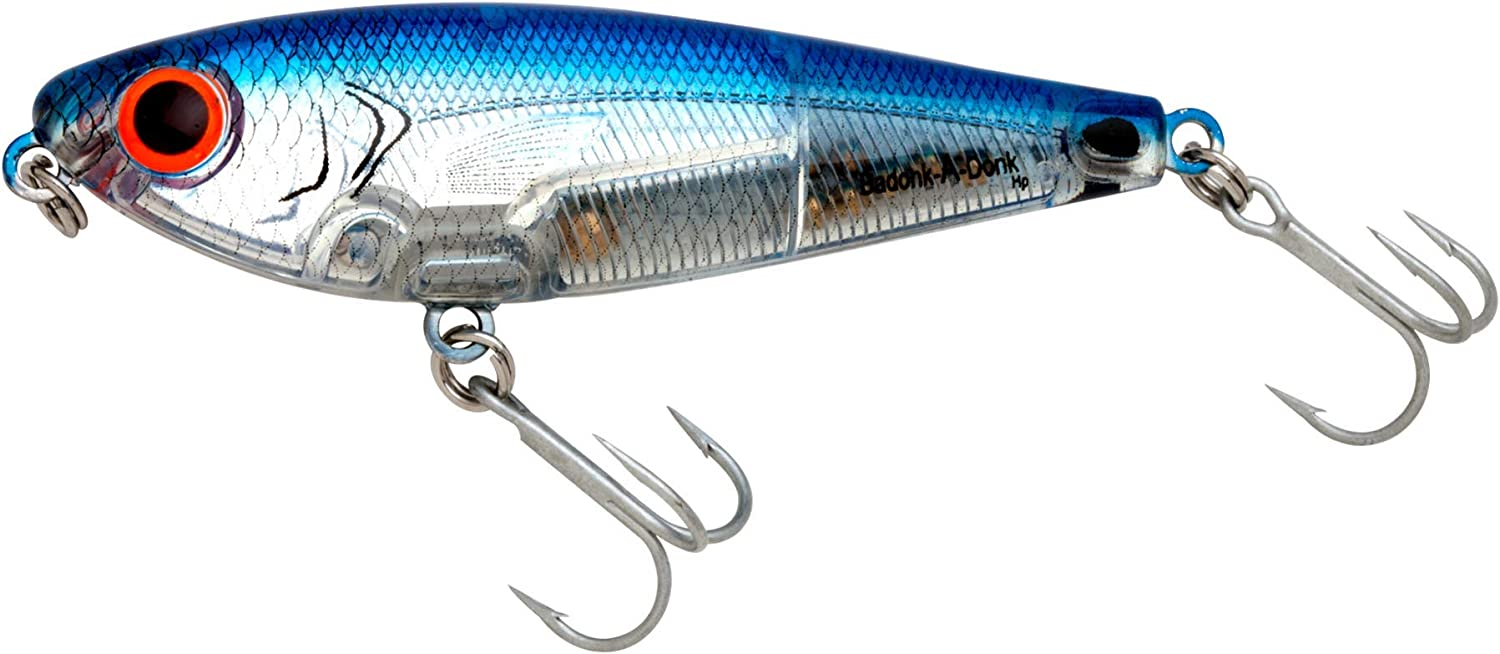 Bomber Lures Badonk-A-Donk High Pitch Saltwater Grade, (4-Inch) - Silver Flash/Blue Back
