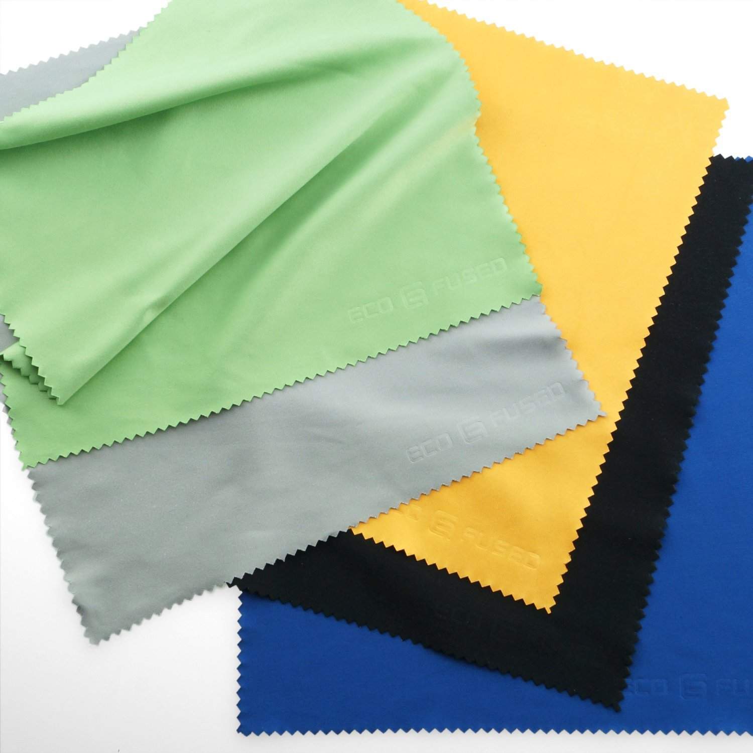Extra Large Microfiber Cleaning Cloths - 5 Pack - 8 x 8 inch (Black, Grey, Green, Blue, Yellow) product image