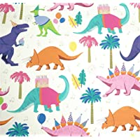 "Dinosaur Bash Gift Wrapping Paper Flat Sheet - 24"" x 6'"