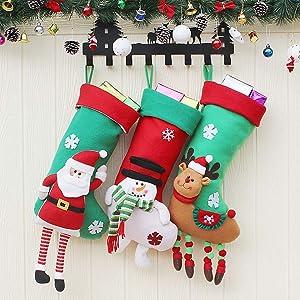 Sugaroom Christmas Stockings, Set of 3 Christmas Stockings Personalized 3D Santa Snowman Reindeer Xmas Fireplace Hanging Stocking for Christmas Decoration Xmas Holiday Party Decor Gift