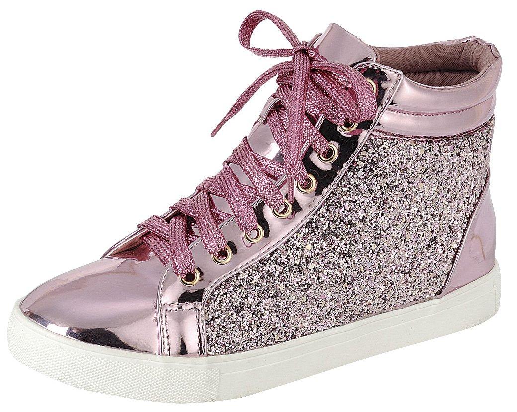 Cambridge Select Women's High Top Closed Round Toe Lace-up Glitter Flatform Fashion Sneaker,8.5 B(M) US,Pink