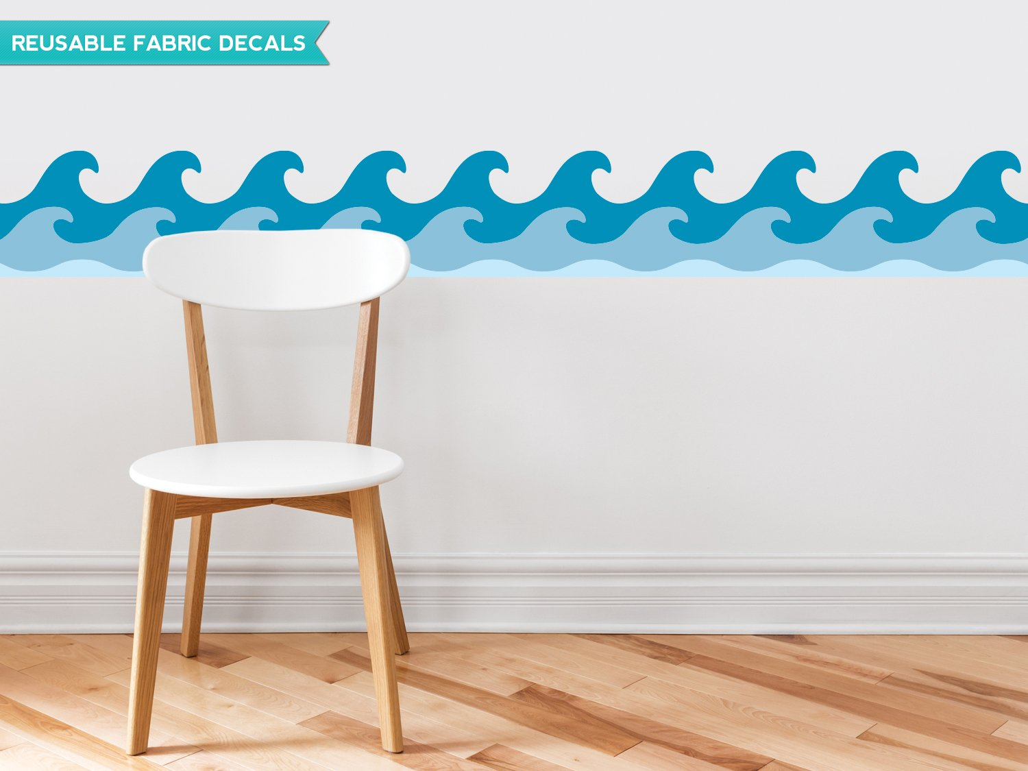 Amazon Com Sunny Decals Wave Wall Border Fabric Wall Decal Set Of 2 7 8 X 24 Original Home Kitchen