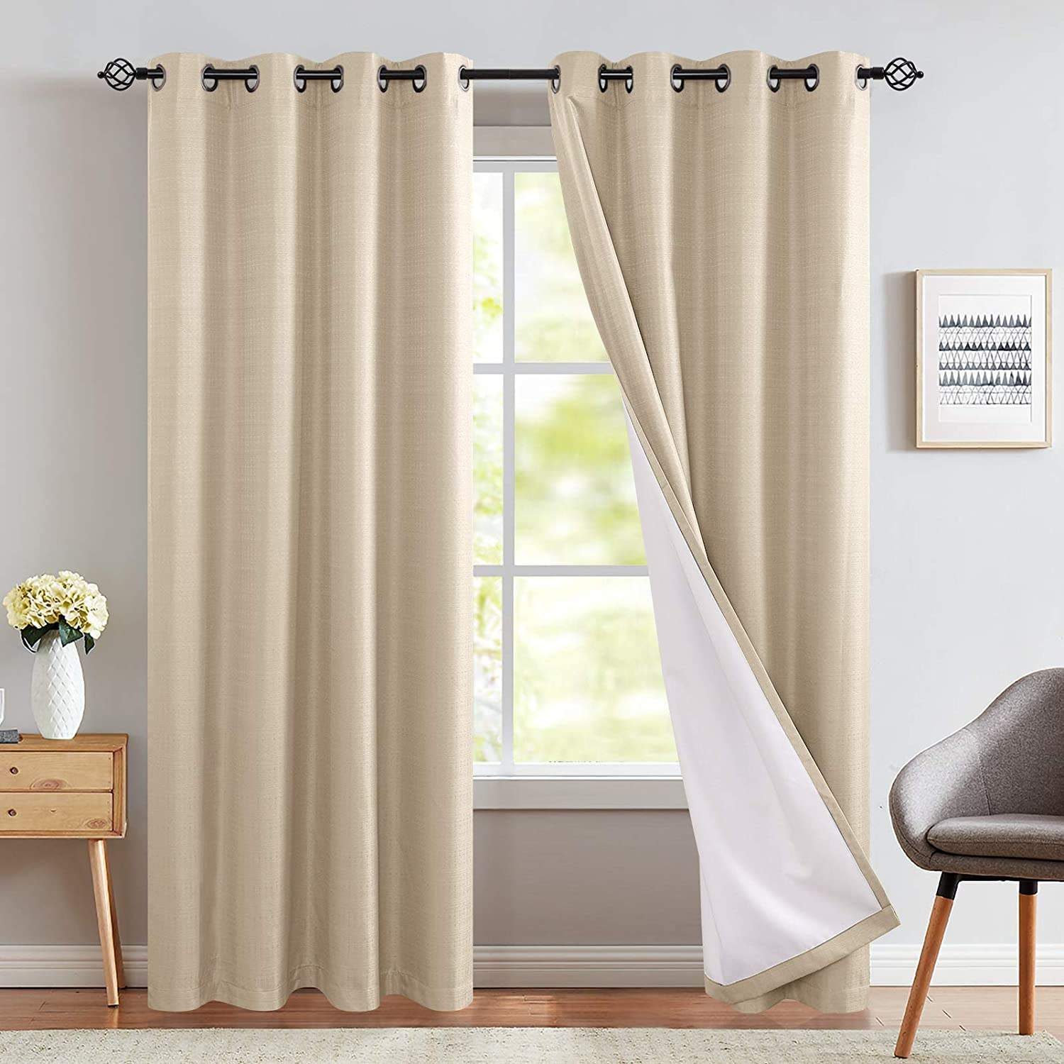 Amazon Com Room Darkening Curtains Beige 84 Inch Long For Bedroom Moderate Blackout Curtains Thermal Drapes Grommet Top One Panel Kitchen Dining