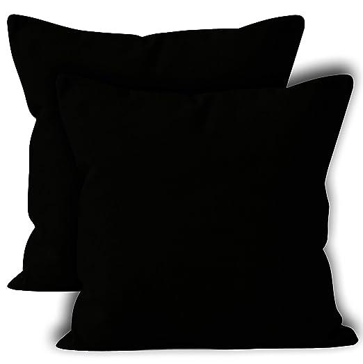 Encasa Homes Fundas de Cojines 2 Piezas (60x60 cm) - Negro - Lona de algodón teñida Forma sólida, Decorativa, Grande y Colorida, Lavable Funda ...