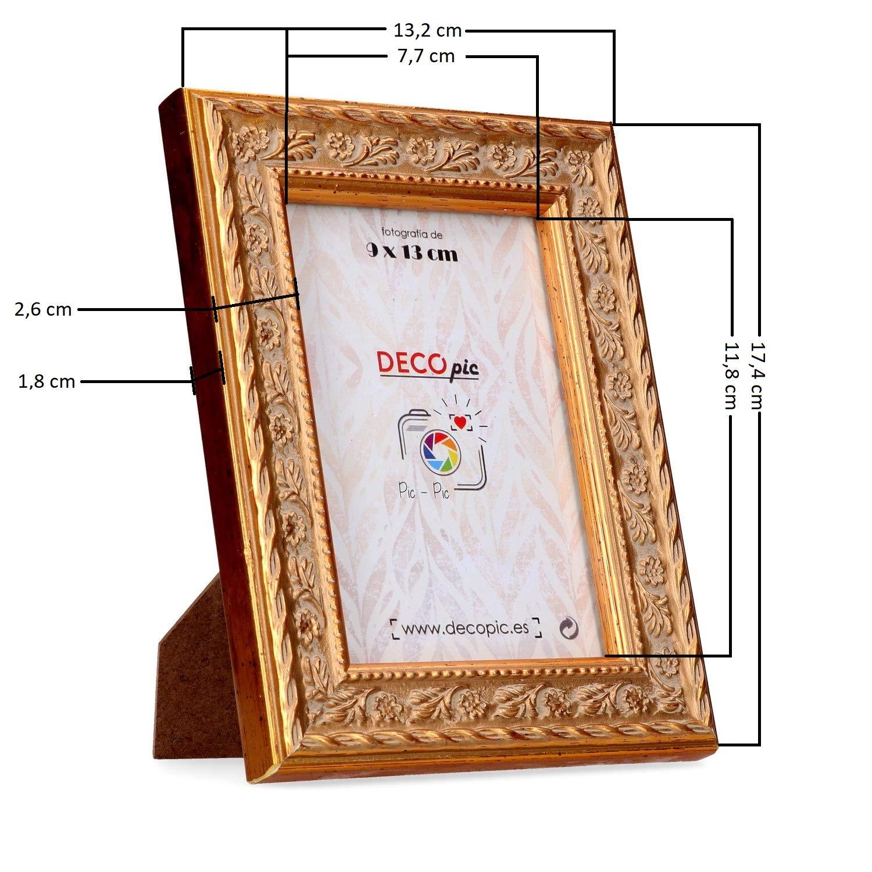 DECOPIC PIC-PIC Marco de Fotos Dorado para fotografía 9x13 cm: Amazon.es: Hogar
