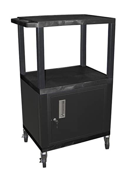 H WILSON WT42C2E 3 Shelf AV Cart With Cabinet, Tuffy, 42u0026quot;,