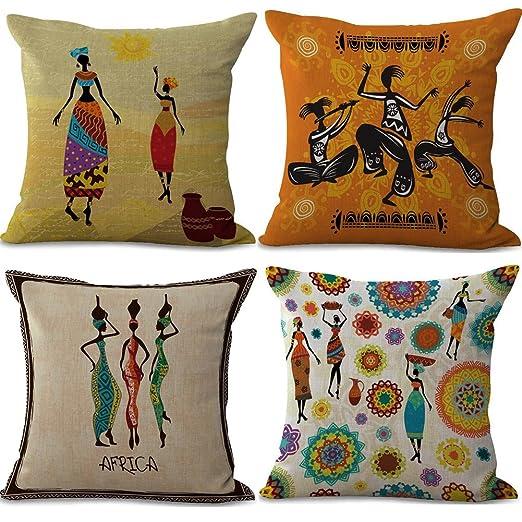 BQ Funda de Cojín Tribal África Cultura Indigenista Colorido ...