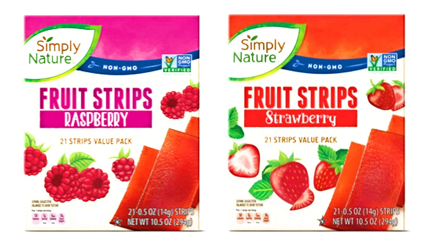 Simply Nature Fruit Strips Variety Value Pack 1 Box Strawberry and 1 Box Raspberry