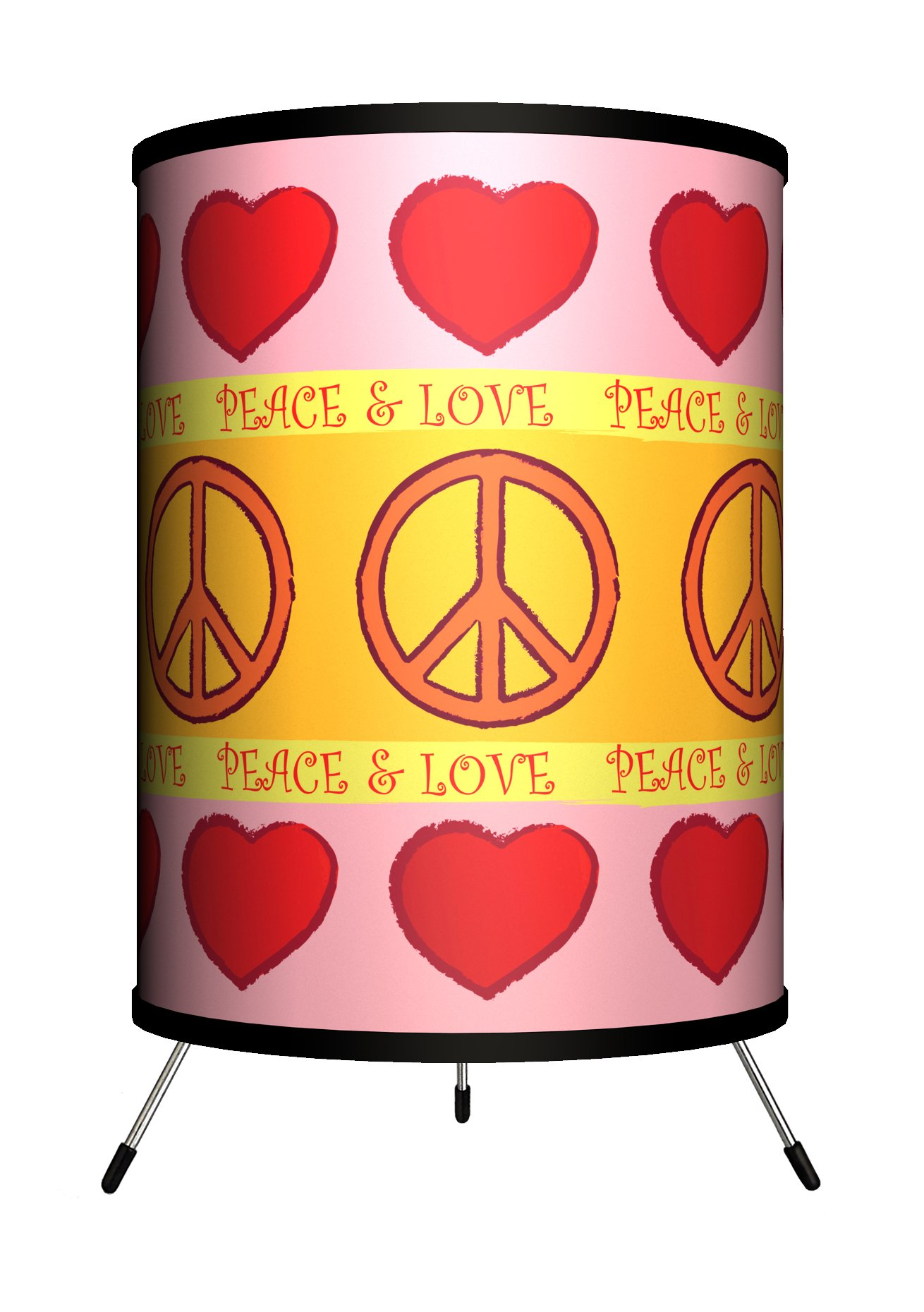 Lamp-In-A-Box TRI-VAR-PEACE Various - Peace and Love Pattern Tripod Lamp