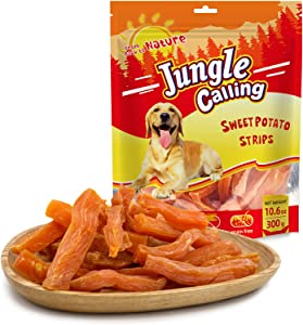 JungleCalling Sweet Potato Dog Treats, Just 1 Ingredient Vegan Dog Treats, Chewy & Skinless Sweet Potato for Small Dogs