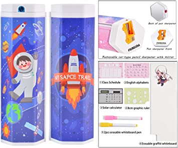Fation Show Magnetic Pencil Holder,Large Capacity Stationery Box Multi-Function Oil Pen Box Transparent Simple Cylindrical Pencil Case(Astronaut Boy)