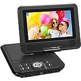 """NAVISKAUTO 7"""" Lecteurs DVD portables avec écran orientable,MP3 Lecteur de carte USB / SD avec 4-5 heures batterie rechargeable intégrée,3m adaptateur AC / DC"""