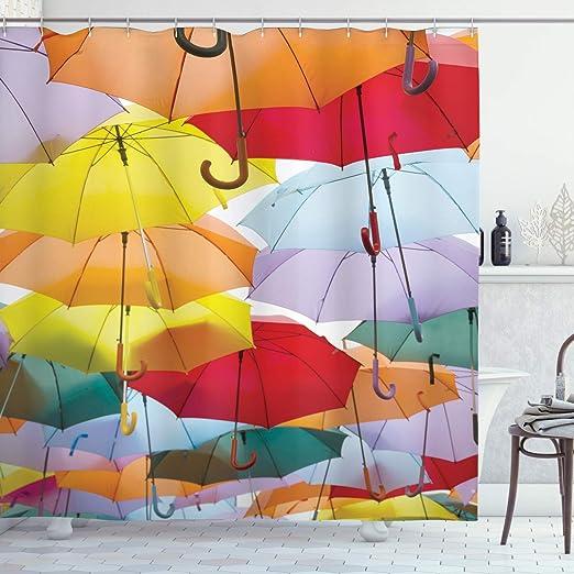 ABAKUHAUS Paraguas Cortina de Baño, Paraguas Coloridos Símbolo de ...