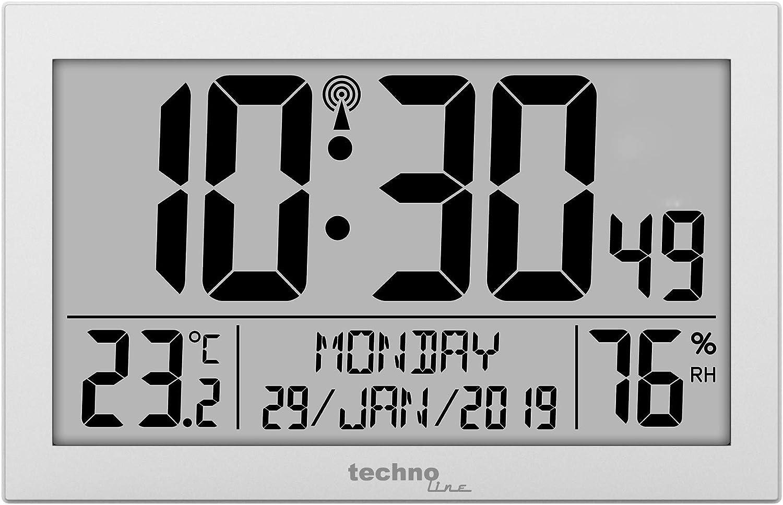 Technoline WS8016 WS 8016 - Reloj de Pared controlado por Radio con indicador de Temperatura, plástico, 225 x 143 x 24 mm, Color Plateado
