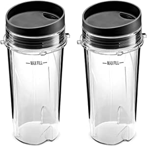 Blender Cups, Single Serve 16-Ounce Cups with Sip Lid (Pack of 2) for Nutri Ninja BL770 BL780 BL660 Pro Blenders