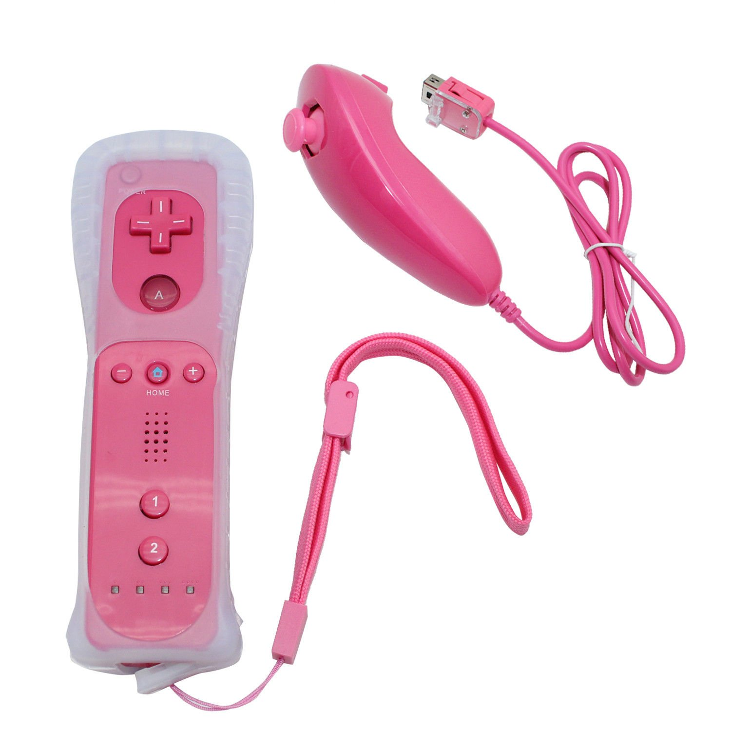 Prodico Wii Remote and Nunchuck Controller with Silicone Case and Strap for Nintendo Wii Wii U Wii mini (pink)