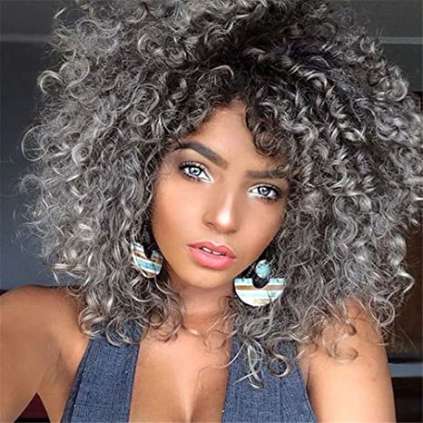 Amazon.com  AAwig 1B Grey Short Afro Kinky Curly Wigs For Black ... 5b81eaac1