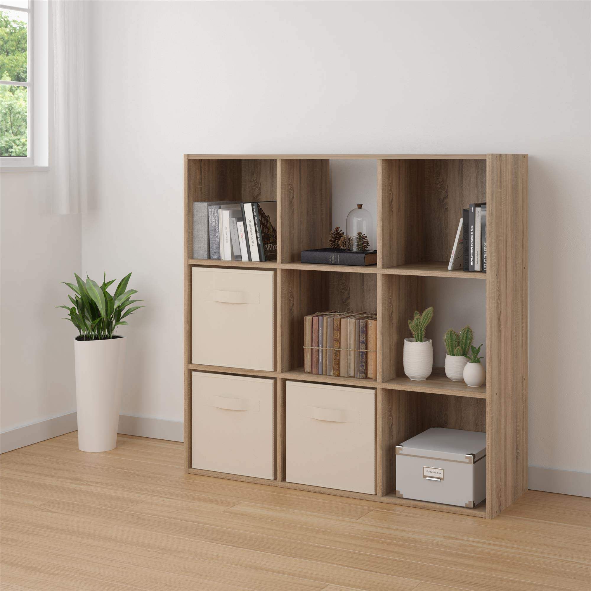 RealRooms Tally 9 Cube Bookcase, Weathered Oak by REALROOMS (Image #1)