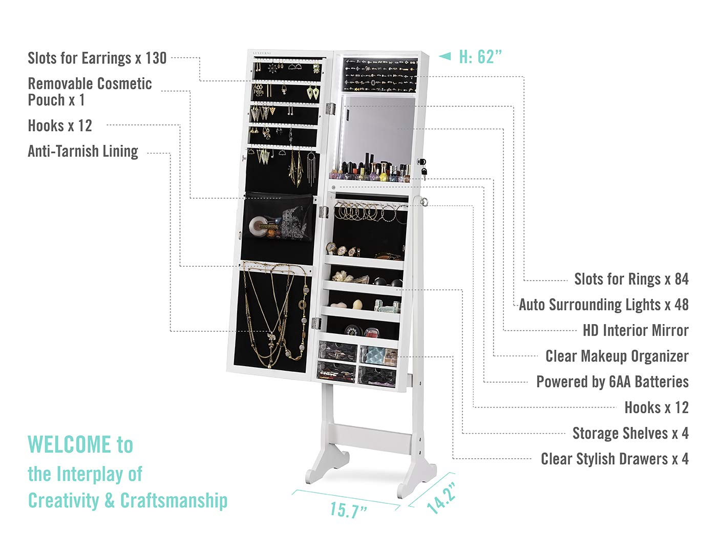 Large Storage Organizer w//Drawers LUXFURNI LED Light Jewelry Cabinet Standing Mirror Makeup Lockable Armoire espresso