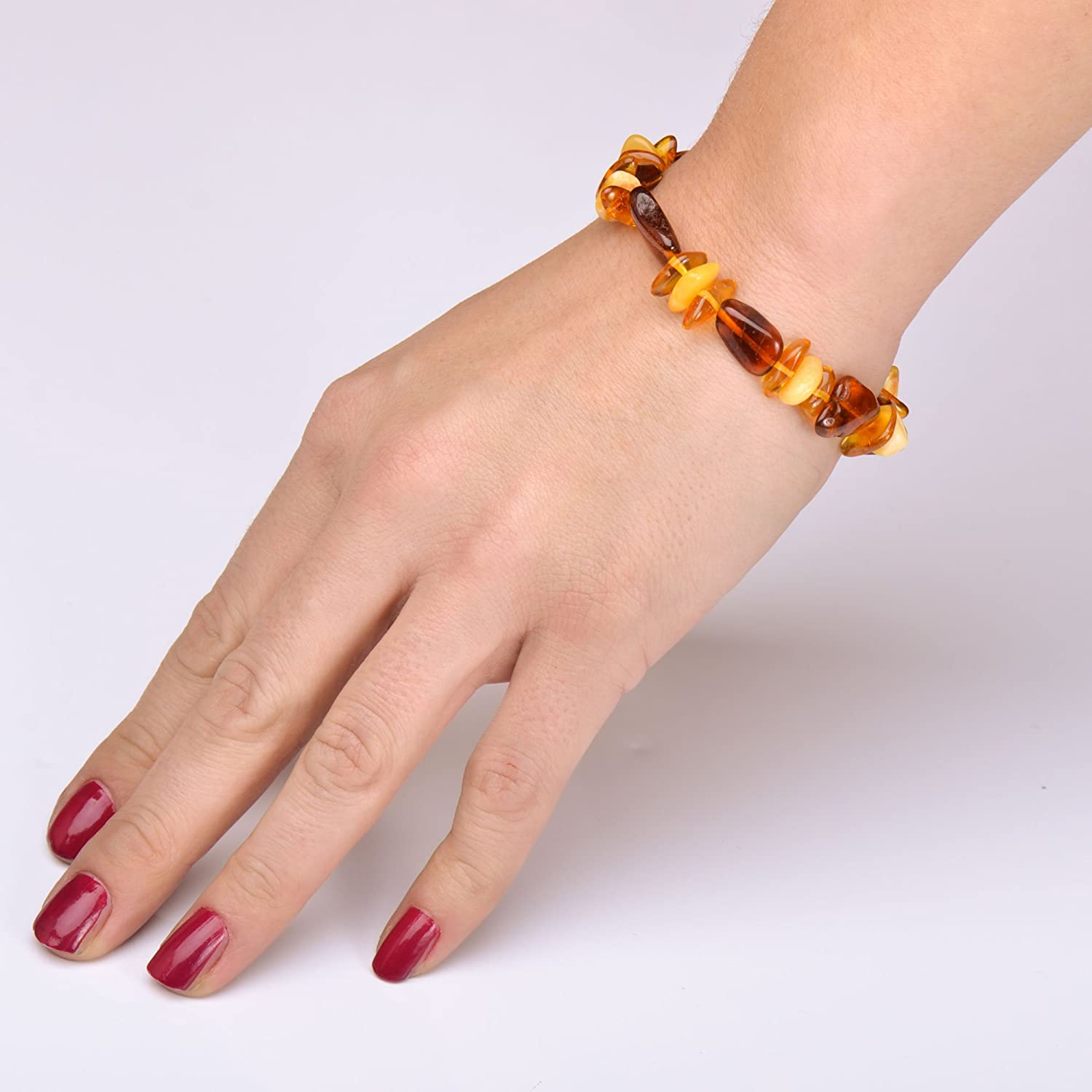 Baltic Amber Bracelet for Adult Genuine Baltic Amber 100/% Genuine Amber Guarantee Elastic Cognac Color 7 inches
