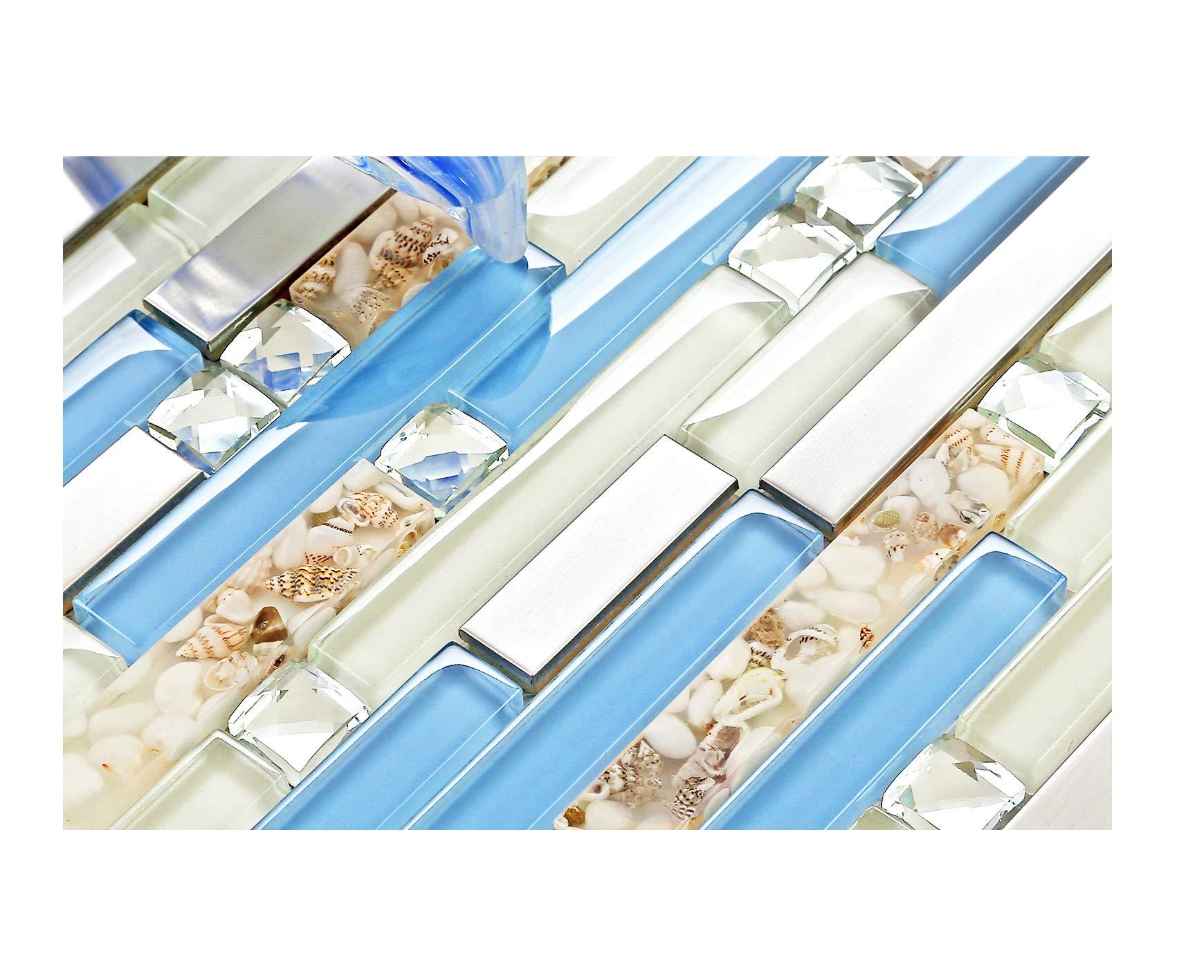 TST Glass Inner Conch Tile Beach Style Blue Cream White Brushed Steel Art Mosaic Kitchen Backsplash Bath Decor TSTNB06 (1 Sample 12x12 Inches)