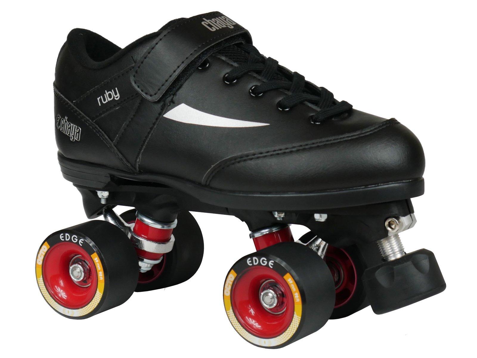 Chaya Ruby Hard Black Quad Derby Roller Skate (EU 36 / US 4)