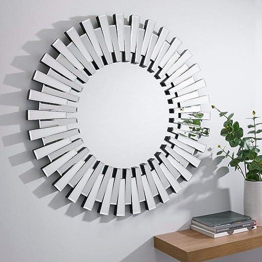 Furniturebox UK Starburst Small/Large Silver Stylish 3D Circular Round  Modern Living Room Bedroom Wall Mirror (80x80cm)