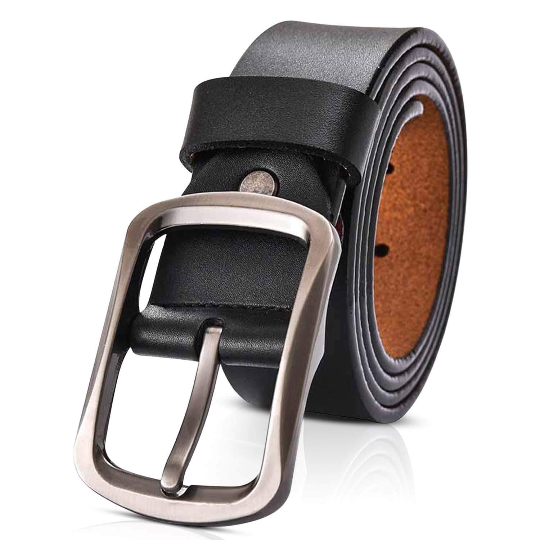 Cowhide Genuine Leather Belt Men s Cool Metal Pin Buckle Black Jeans Strap Belts