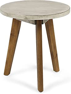 Christopher Knight Home 305359 Gino Outdoor Acacia Wood Side Table, Light Gray Finish/Natural Finish