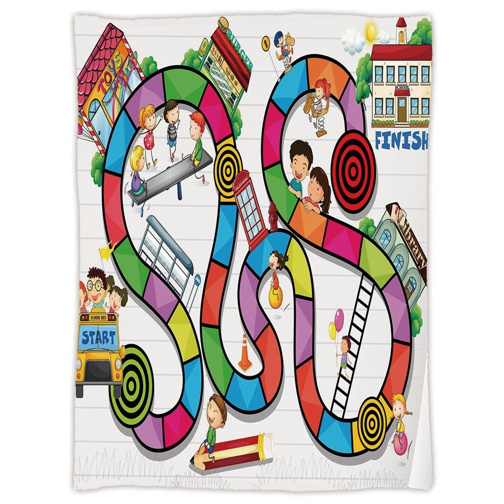 Super Soft Throw Blanket Custom Design Cozy Fleece Blanket,Board Game,Game on Notebook Paper Kids and Building School Route Fun Challenge Enjoyment Decorative,Multicolor,Perfect for Couch Sofa or Bed