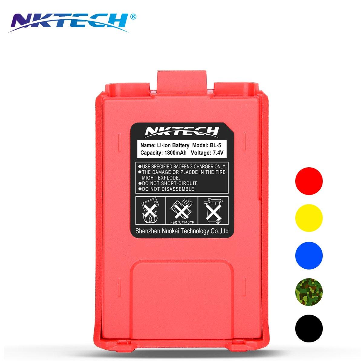 NKTECH BL-5 1800mAh 7.4V Li-ion Battery UV-5R Battery For BaoFeng Pofung UV-5R V2 PLUS PRO DM-5R UV-5RA BF-F8HP BF-F9 V2 UV-5R5 UV-5X3 UV-5RE Plus UV-5RTP TYT TH-F8 Two Way Radio (Black) NK-BL5-BL