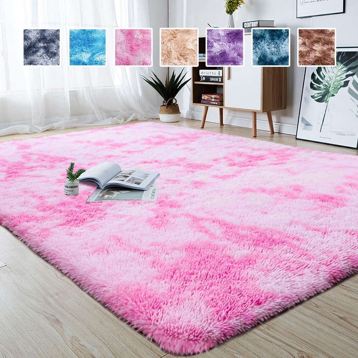 junovo Modern Abstract Shaggy Area Rugs Fluffy Soft Bedroom Rug for Kids Nursery Girls Boys Ultra Comfy Shag Fur Carpets Nursery Room Living Room Furry Decor Rugs, 4 ft x 6 ft, Pink